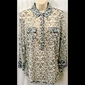 I.N.C. Sheer Blouse Abstract Graphic Top